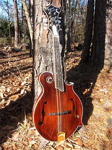Mandolin with Redwood top and Red Maple B&S by Crystal Forest Mandolins  crystalforestmandolins.com USA